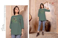 Sparsh Designer Short Rayon Embroidery Kurtis