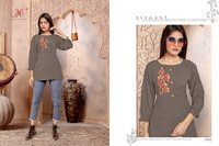 Sparsh Designer Short Rayon Embroidery Kurtis