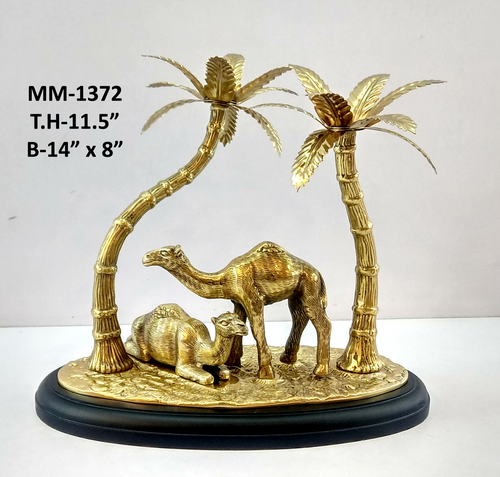 Camel Statue With Tree On Wooden Base, Brass Antique