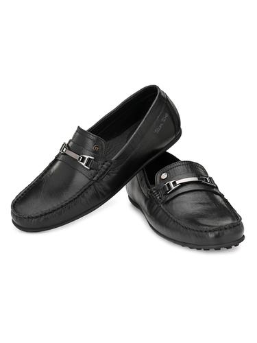 Men Black Leather Slip On Shoes