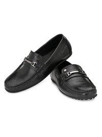 Men Black Leather Slip On