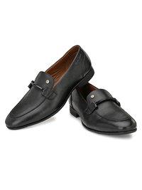Men Black Leather Formal  Slip On