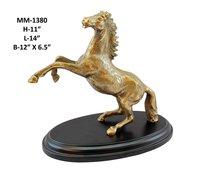 Jumping Horse Statue Aluminium, Wooden Base, Brass Antique