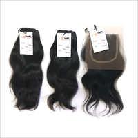 Natural Raw Virgin Wavy Hair Bundle With Transparent HD Lace Closure