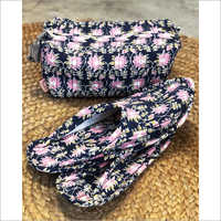 Midnight Blue And Pink Lotus Print Travel Set