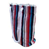 Stripe Print Twisted Rope Handle Canvas Beach Bag.