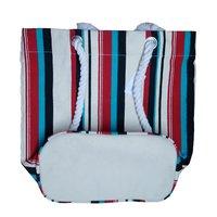 Stripe Print Twisted Rope Handle Canvas Beach Bag