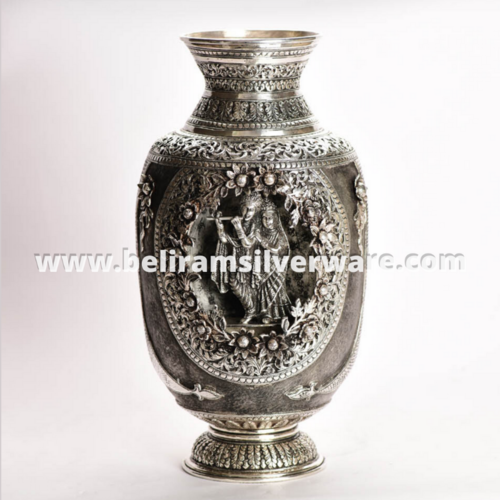 Radha Krishna Intricately Carved Silver Vase