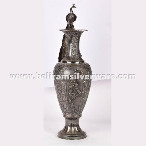 Perched Peacock Nakshi Antique Silver Vase