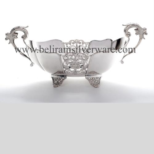 Wavy Rim Cutwork Silver Bowl Centerpiece