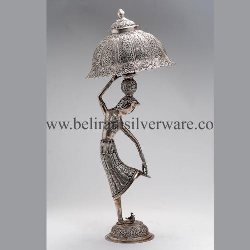 Lady Figurine Antique Silver Lamp