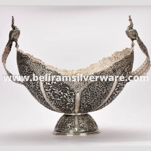 Perched Peacocks Nakshi Antique Silver Centerpiece