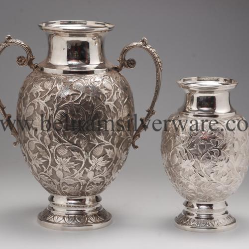 Intricately Carved Silver Flower Vase