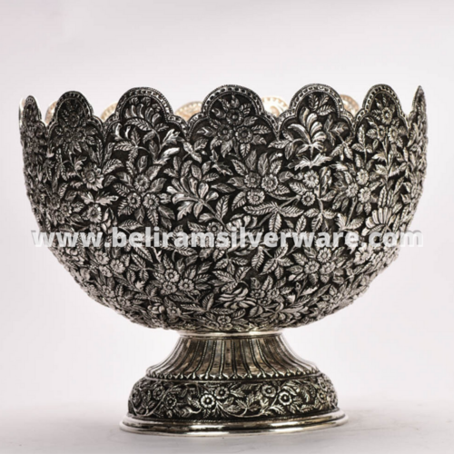 Flower Leaf Antique Silver Centerpiece/Silver Bowl