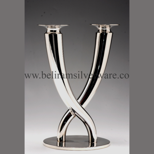 Dual Modern Silver Candle Stand