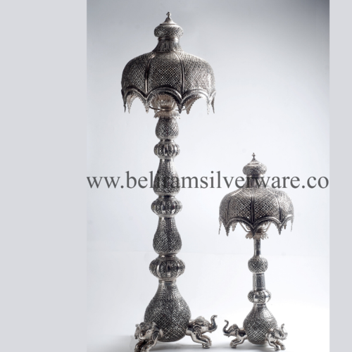 Umbrella Shape Shade Antique Silver Lamp