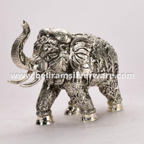 Intricately Carved Elephant Silver Centerpiece