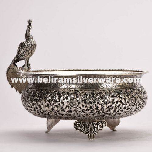 Intricately Carved Perched Peacock Silver Urli