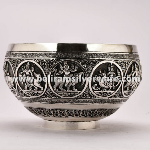 Intricately Designed Silver Bowl Centerpiece