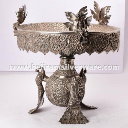 Peacock Legged Nakshi Silver Centerpiece