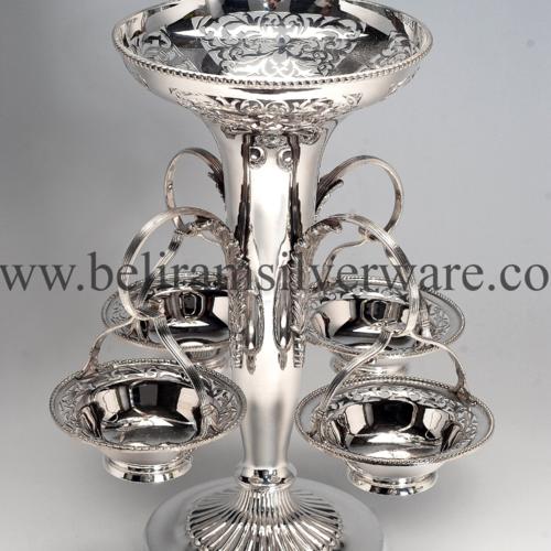 Intricate Silver Bowls Centerpiece