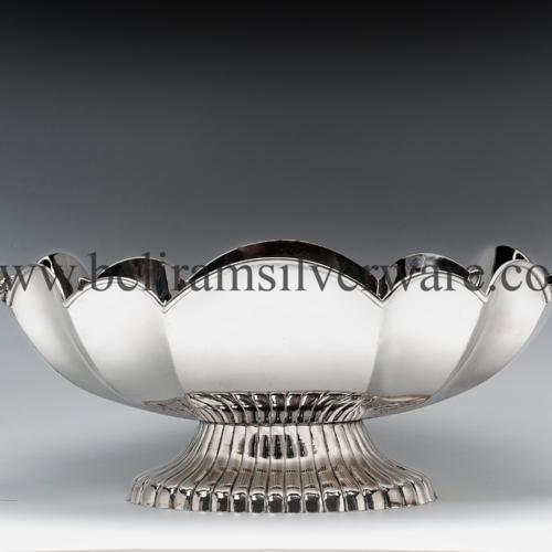 Scalloped Lotus Design Silver Bowl Centerpiece