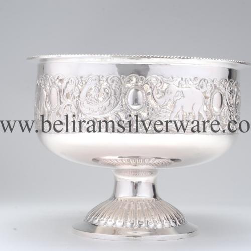 Pedestal Elephant Nakshi Silver Bowl