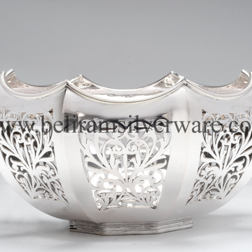 Intricately Crafted Pedestal Bowl Silver Centerpiece