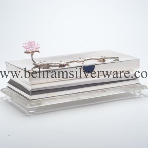 Lotus Polished Silver Box