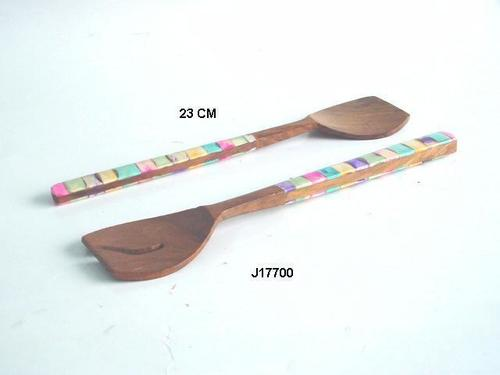 Wooden Salad Set With Bone Inlay