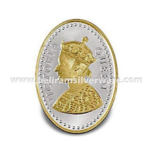 Golden Victorian Queen Oval Silver Coin