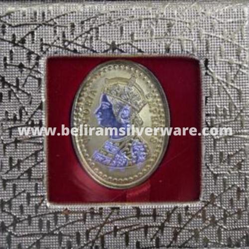 Victoria Empress Purple Hued Oval Silver Coin