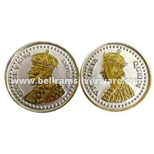 Golden George V King Emperor & Victoria Queen Silver Coin Set