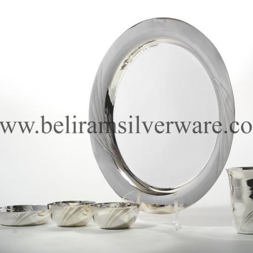 Modern Texture Circular Silver Dinner Thali Set