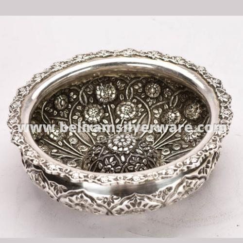Intricate Border Flower Carved Silver Urli