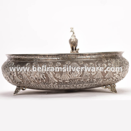 Antique Silver Urli With Perched Peacock