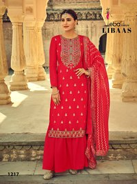 Libaas Heavy Chinon with Heavy Embroidery Work Dress Materials