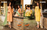 ENHANCE Cotton Pattern Embroidered Kurtis and Pants