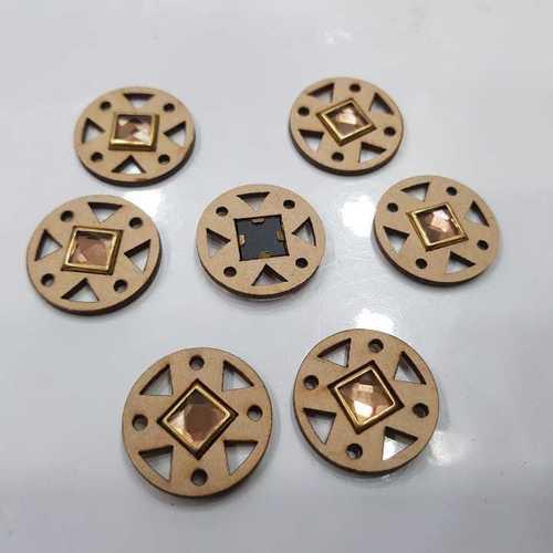 WOODEN CUTWORK TRIANGLE SHAPE SQUARE DIAMOND STICK BUTTON