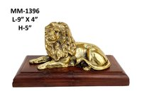 Lion Sitting On Wooden Base Brass Antique