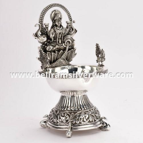 Intricate Nakshi Asth Lakshmi Silver Diya