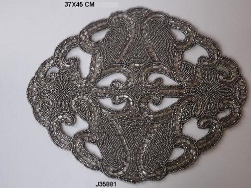 Glass Bead  In Black Color Table Mat