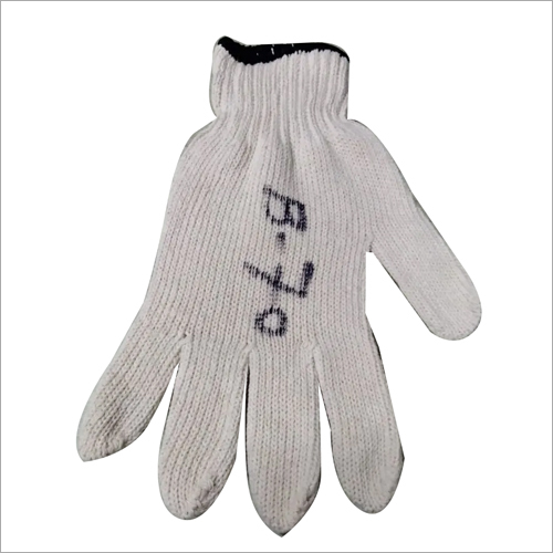 Cotton White Knitted Hand Gloves