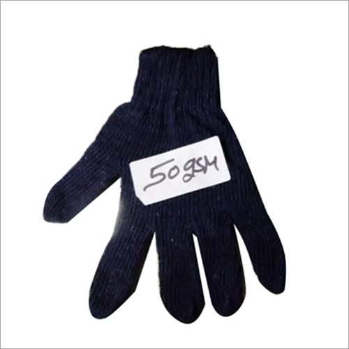 Blue Cotton Knitted Hand Gloves