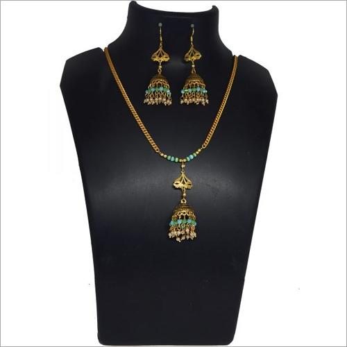 Monalisa Small Stone Beaded Metal Pendant Necklace