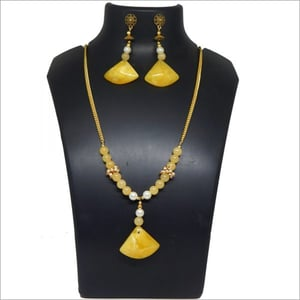 Gemstone Beads With Amber Pendant Necklace