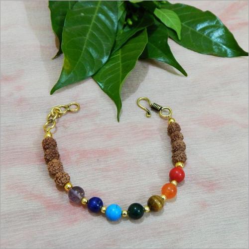 Gemstone 7 Chakra Color Beads And Rudraksha Beads Bracelet