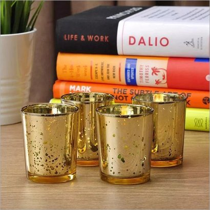 Mercury Candle Glass Votive Holder Gold & Silver