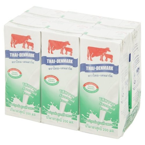 Thai-Danish UHT flavored milk, Sweet flavor 200ml x 6pcs