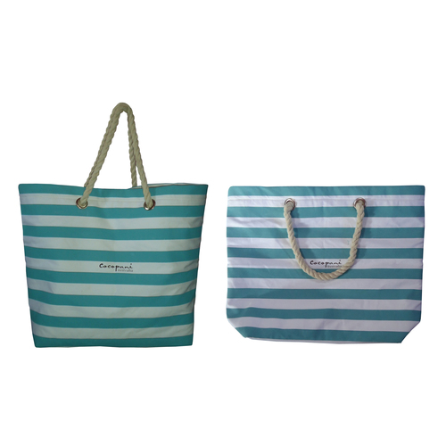 12 Oz White Canvas Tote Bag With Inside Padded Body & Striped Print Allover